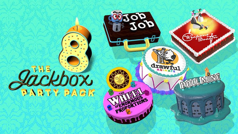 Jackbox Party Pack 8 menu screen with cakes